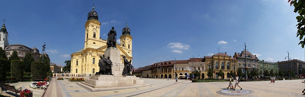 big panorama of the city of debrecen hungary
