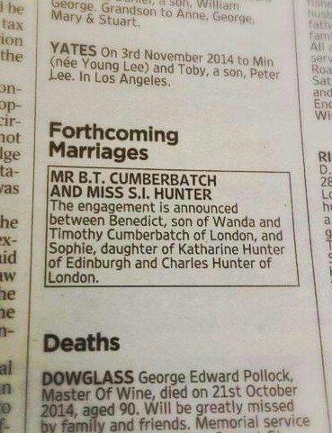 Объявление о помолвке Камбербэтча